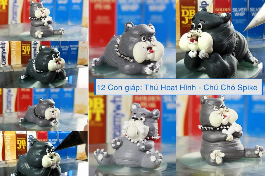 Hướng dẫn trang trí bánh kem - Chú chó Spike trong Tom and Jerry