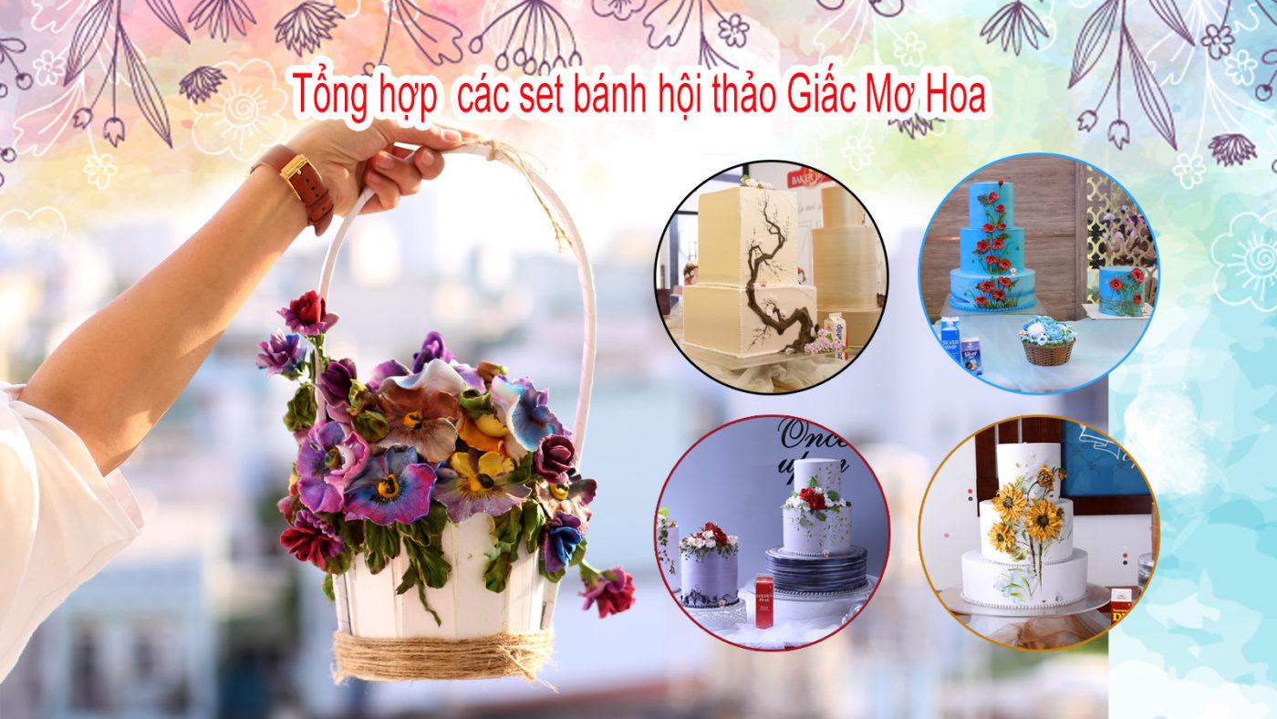 Hình Set Bánh Trang Trí Bánh Kem Chủ Đề Giấc Mơ Hoa