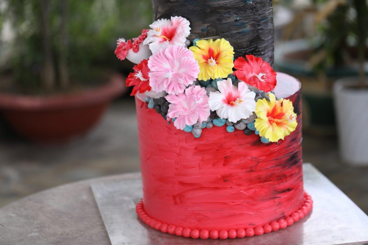 trang trí bánh kem - bông kem hoa dâm bụt