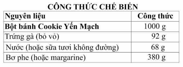cong thuc che bien banh cookie yen mach